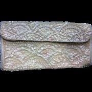 La Regale Sequin Beaded Evening Bag Clutch Cream Pink