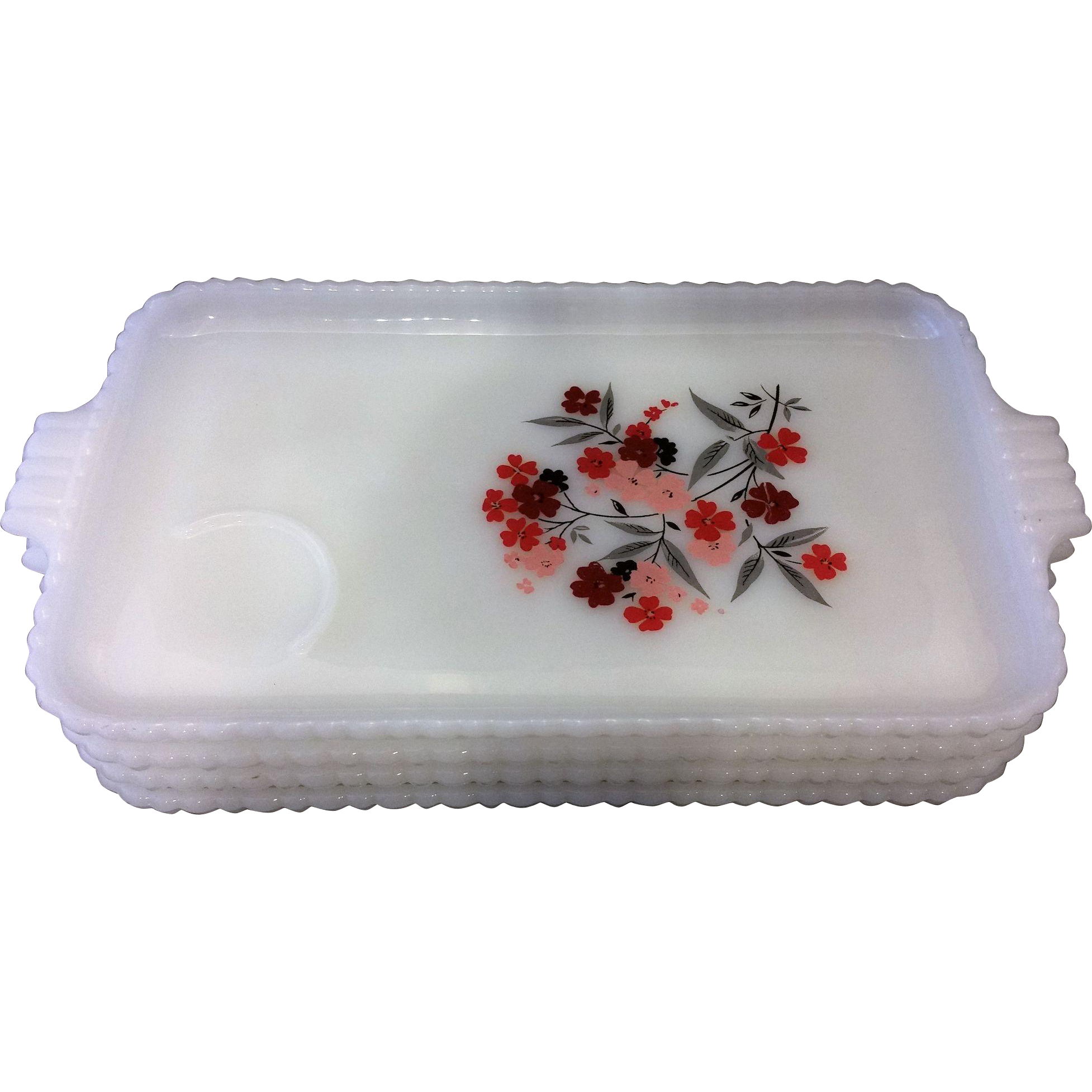 Fire King Primrose Milk Glass Red Flowers Snack Plates Set of 4