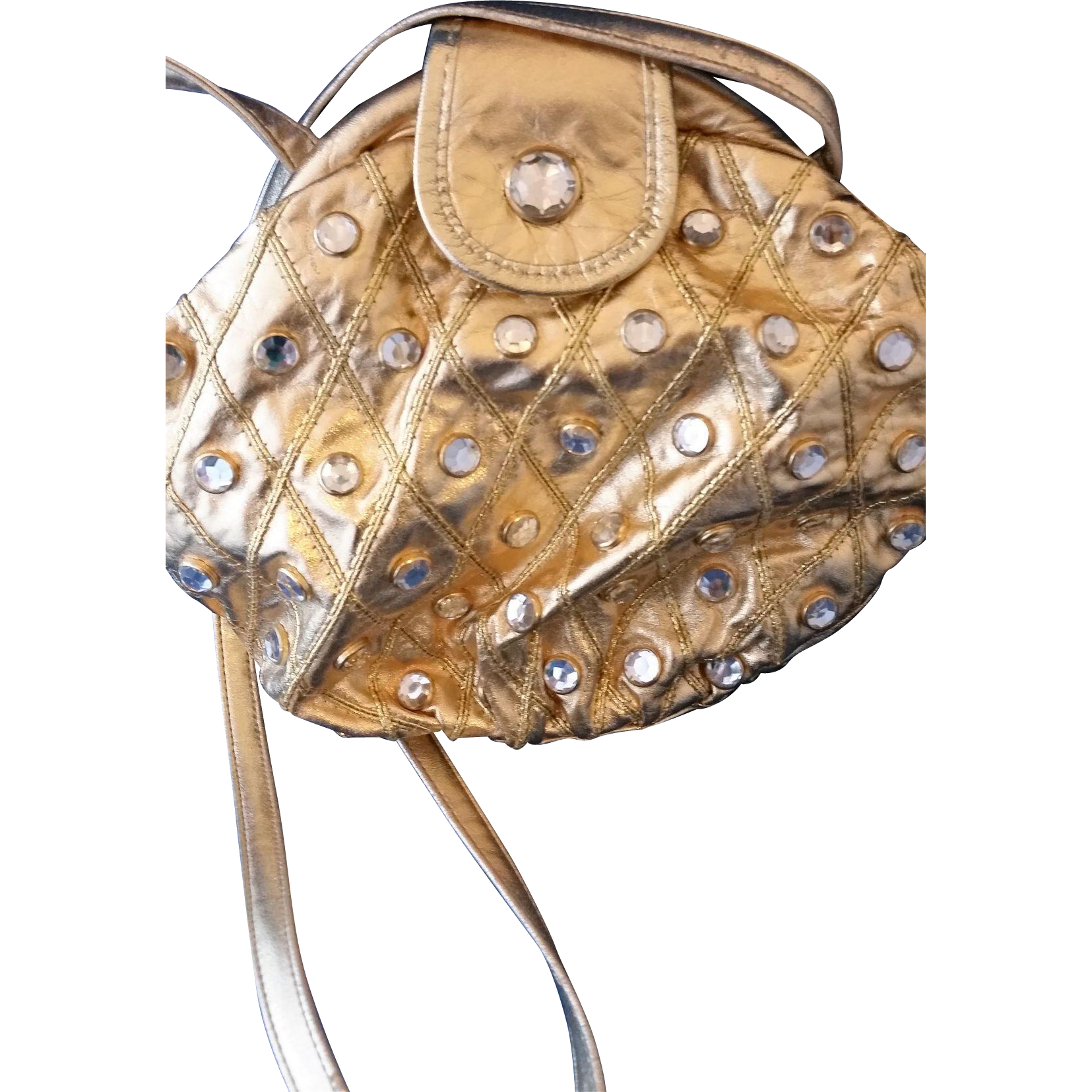 Marty Fuerst Gold Leather Clear Rhinestone Studded Purse