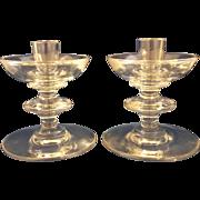 Val St Lambert State Plain Single Light Candle Holders Pair 1950s Lead Crystal