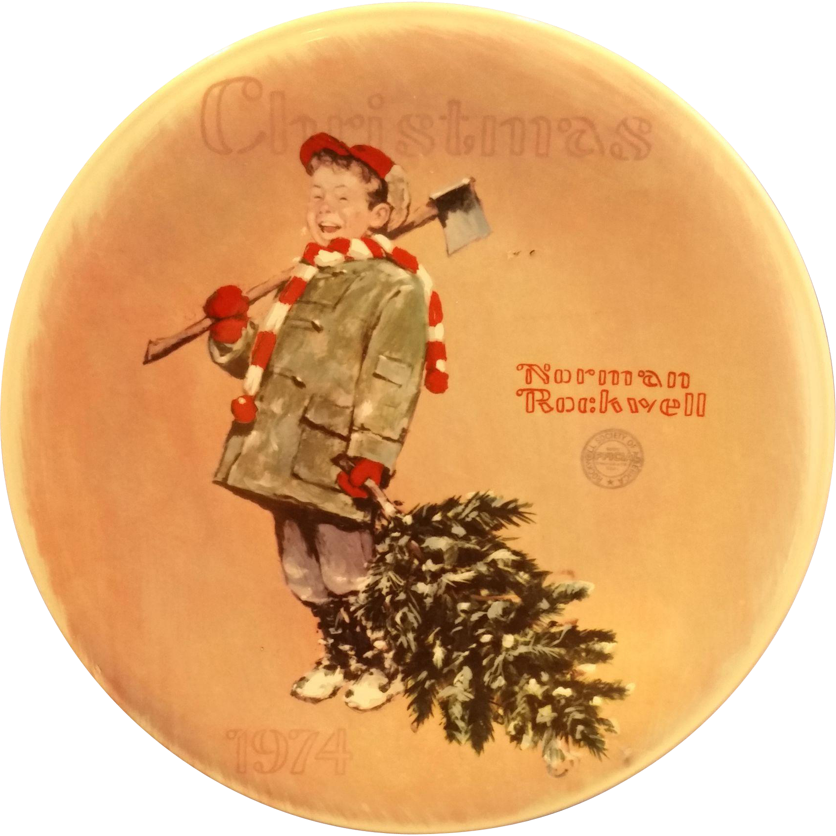 Norman Rockwell Plate 1975 Scotty Gets His Tree Porcelain First Limited Edition Ridgewood Fine China