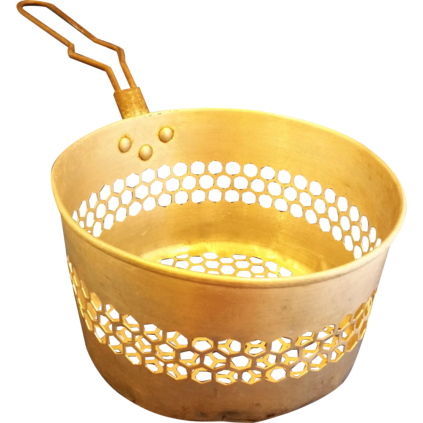 Aluminum Hexagon Perforated Fry Basket Strainer Colander