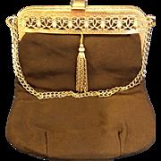 Black Evening Bag Silver Tone Filigree Frame Tassel Chain Handle