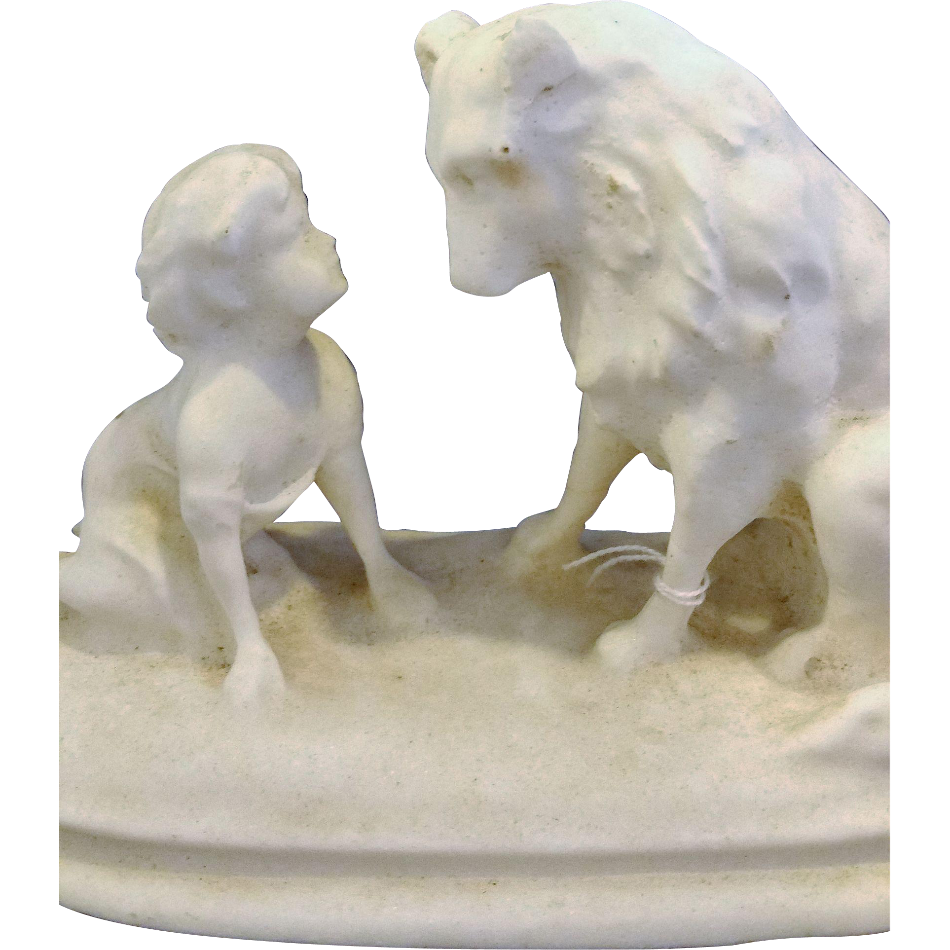 Boy And Dog Molded Salt Statue Figurine