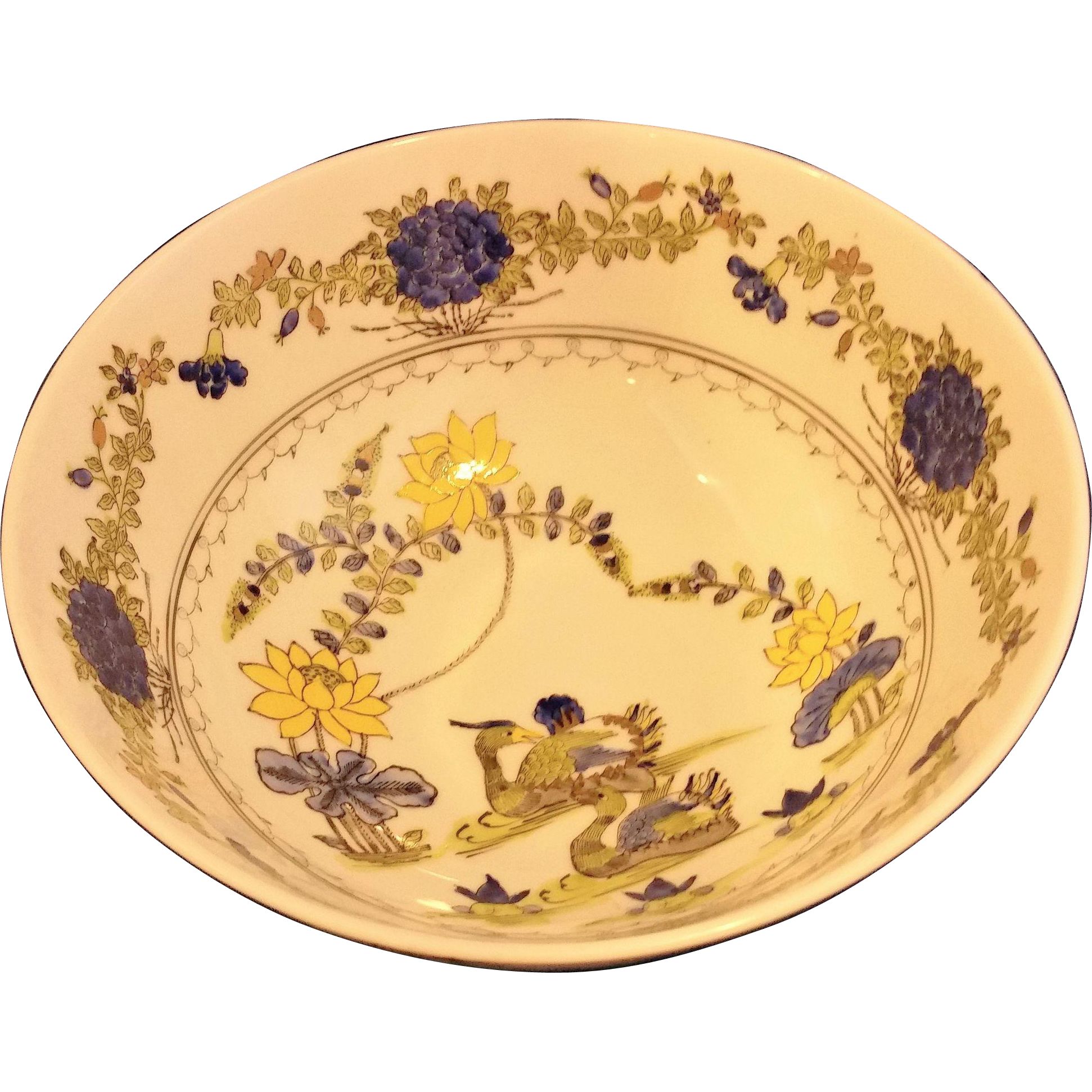Japanese Porcelain Ware Decorated in Hong Kong ACF Blue Yellow Floral Bowl 8 IN