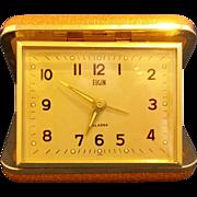 Elgin Travel Alarm Clock Orange Brown Clamshell Case Japan
