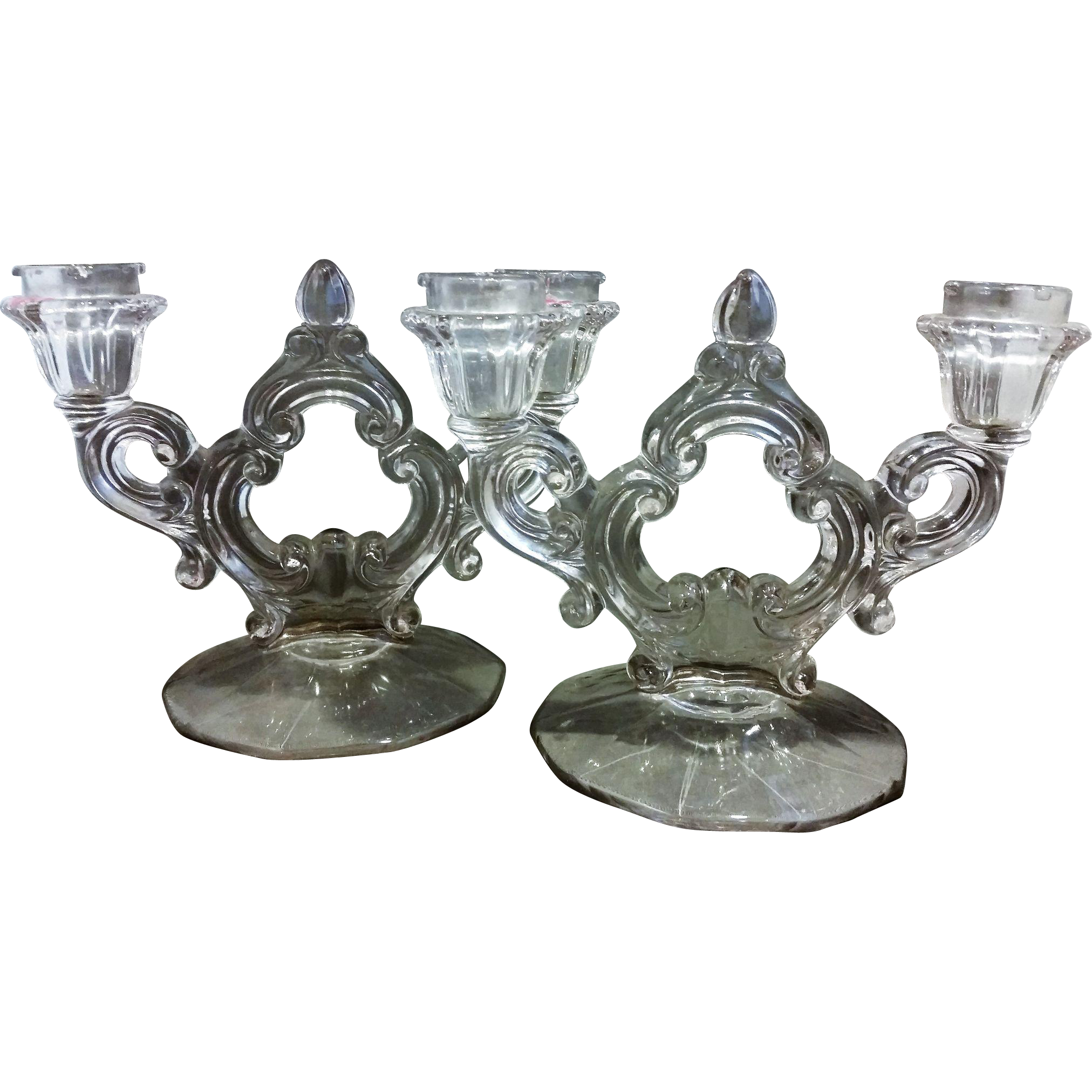 Cambridge Decagon Keyhole Double Light Candleholders Pair Clear Glass Elegant