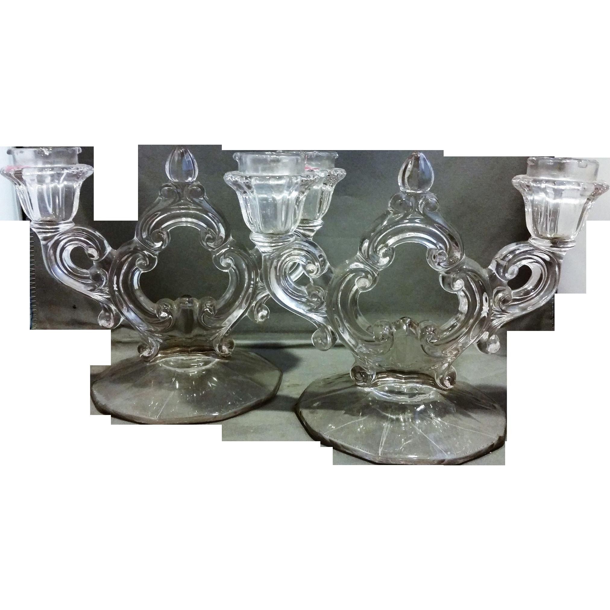 Cambridge Decagon Keyhole Double Light Candleholders Pair Clear Glass Elegant