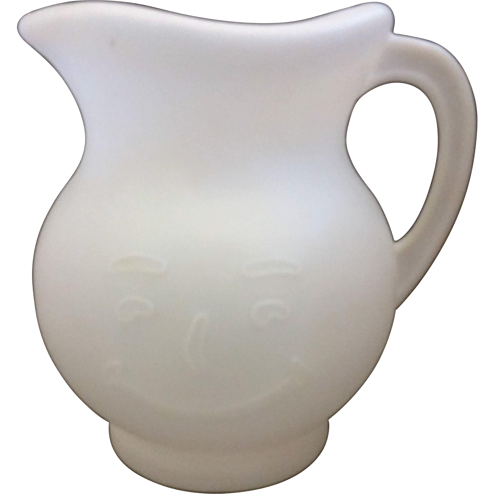 Kool Aid Man Face Pitcher White Plastic 1980s
