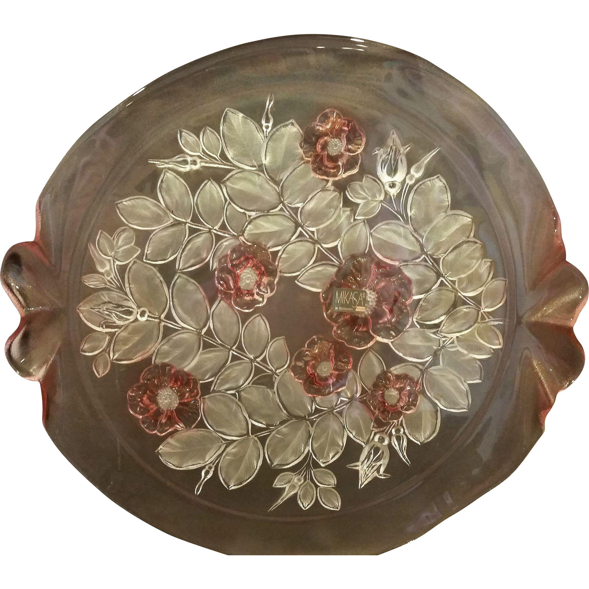 Mikasa Rosella Walther Crystal Germany Pink Flowers Cake Plate Tab Handles