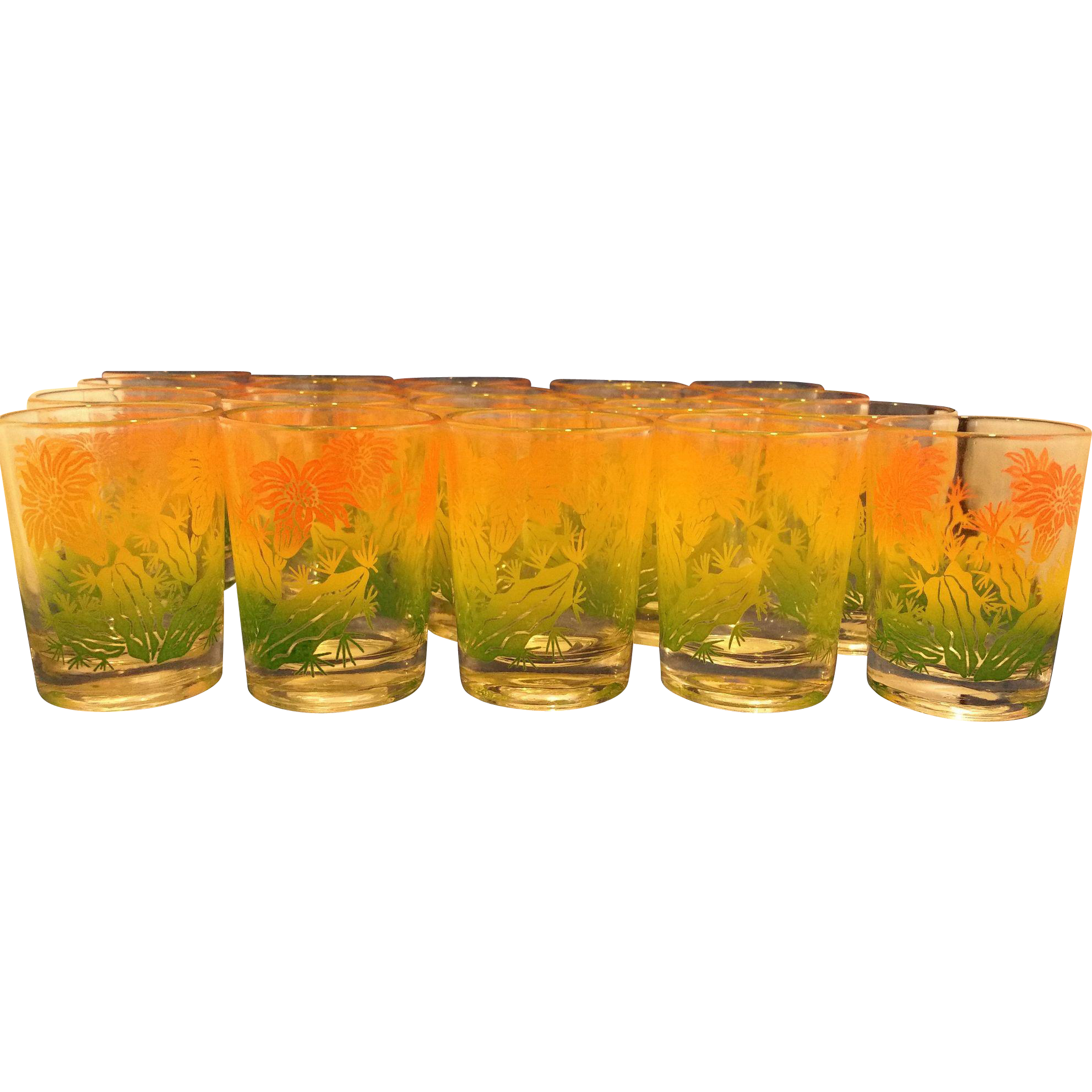 Federal Glass Flower Juice Glasses Set of 20 Orange Yellow Green Swanky Swig