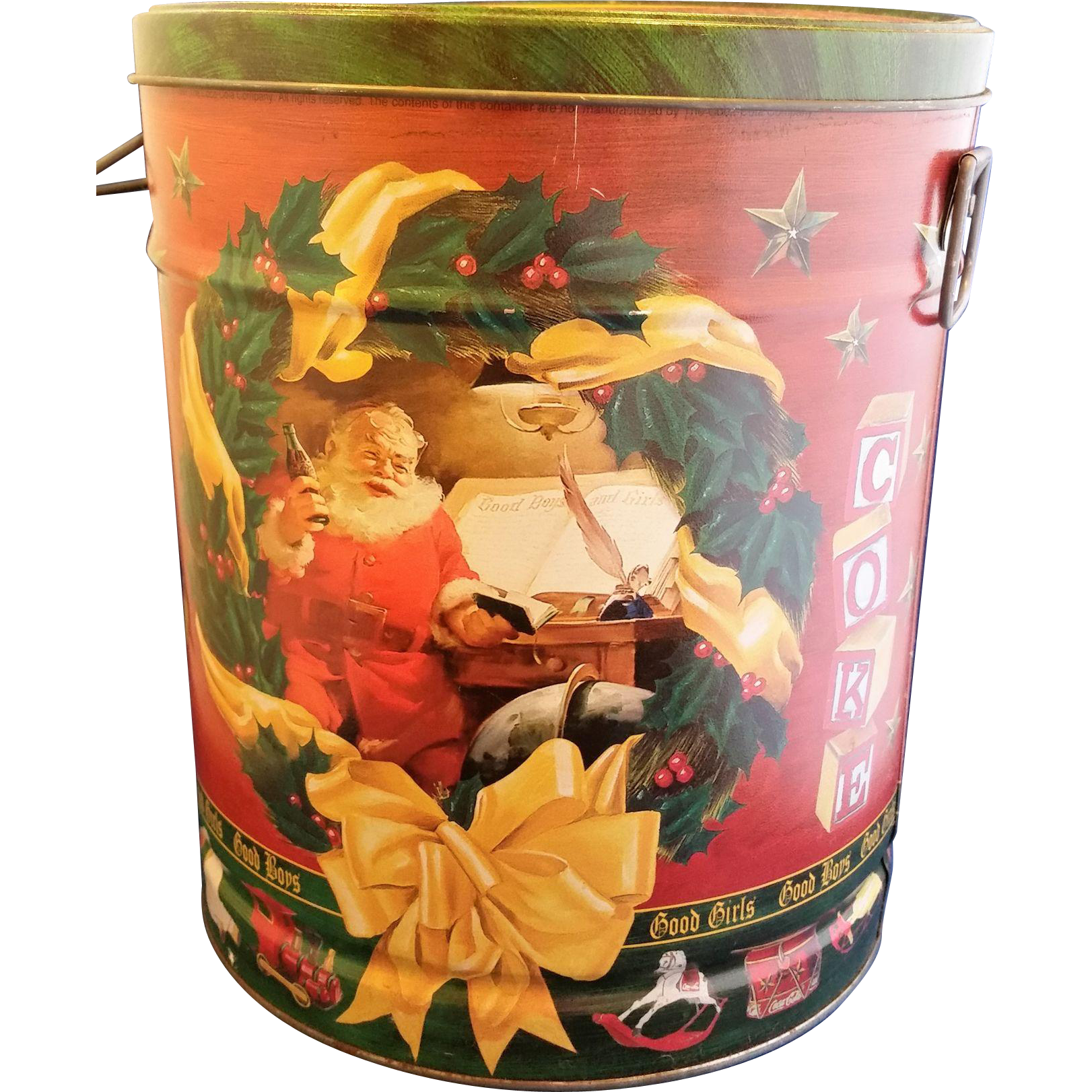 Coca-Cola Coke Santa Christmas Popcorn Tin Good Boys Good Girls Bertels Can Co