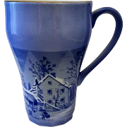 Currier Ives Blue Porcelain Farmers Home In Winter Mug Japan - Red Tag Sale Item
