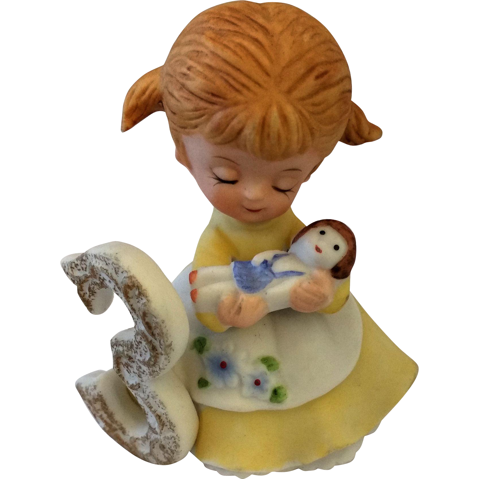 Kelvin Birthday Girl 3 Figurine Pigtails Baby Doll Porcelain Hand Painted