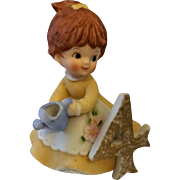 Kelvins Birthday Girl Porcelain Figurine 4 Brown Hair Blue Watering Can