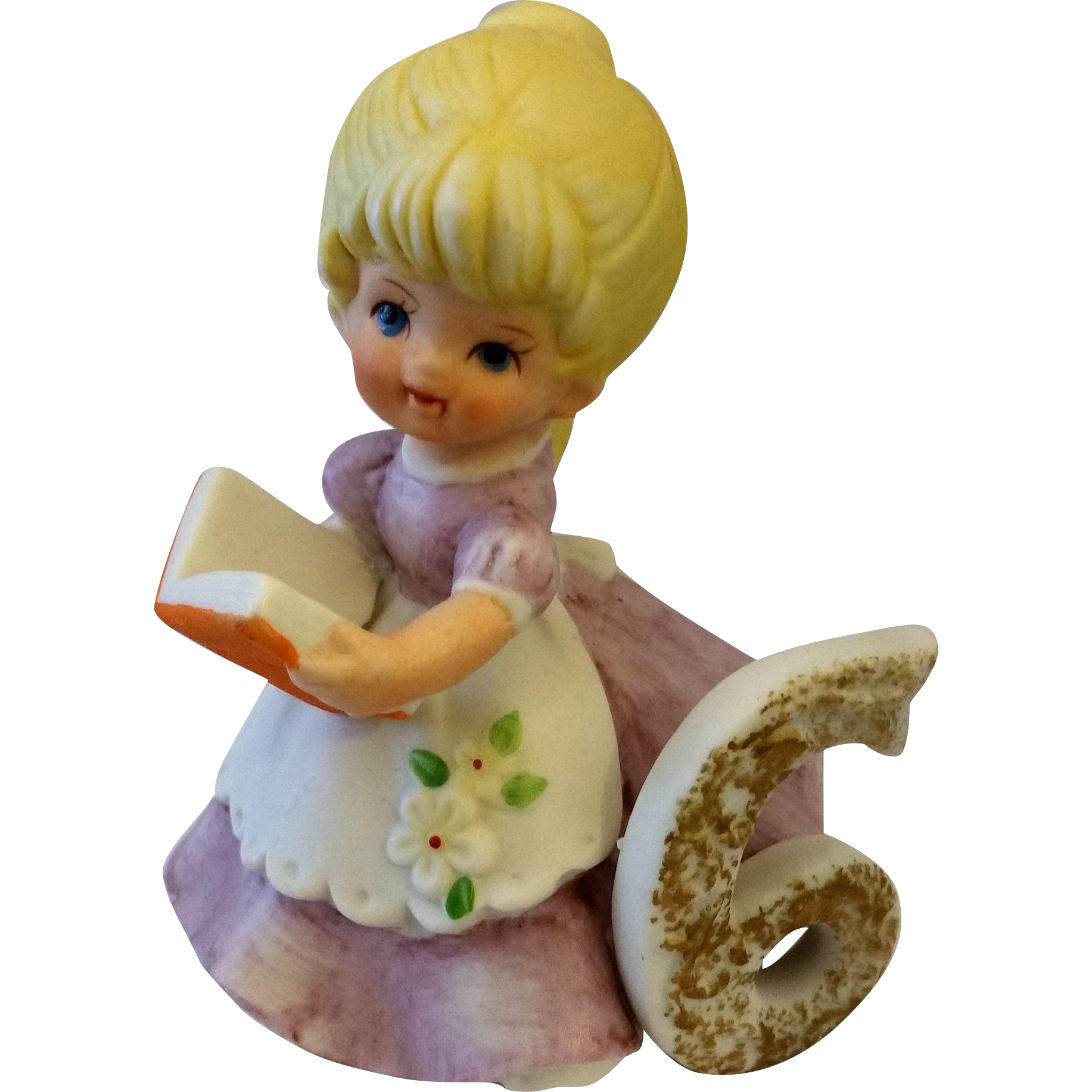 Kelvins Birthday Girl 6 Porcelain Figurine Blond Hair Holding Book