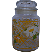 Hildi Daisies Glass Canister Apothecary Jar Anchor Hocking