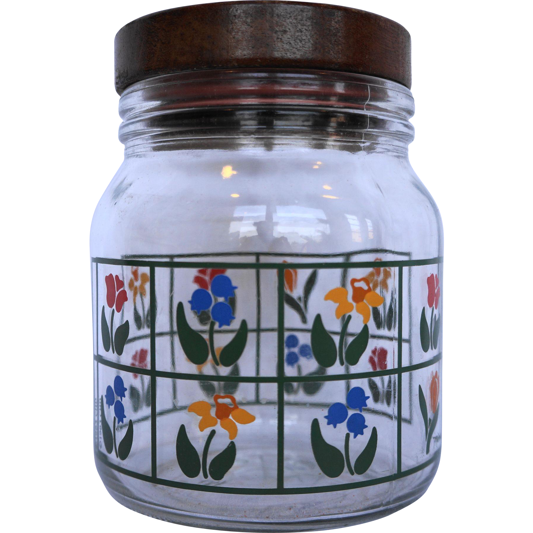 Nina Greenhouse Floral Glass Canister Wooden Lid Anchor Hocking 1980s