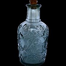Libbey of Canada Green Glass Leaf Embossed Bottle Decanter Cork Stopper