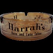Harrahs Casino Souvenir Ashtray Marigold Carnival Iridescent Glass Reno Lake Tahoe
