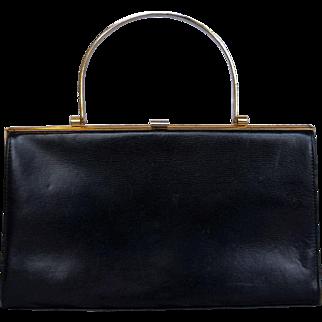 Lumos London Black Leather Handbag Brass Handle