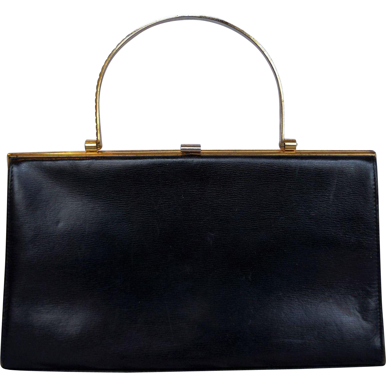 Lumos London Black Leather Handbag Brass Handle
