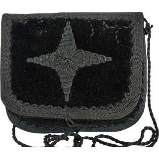 Black Velvet Embroidered Purse Made in Morocco 1980s