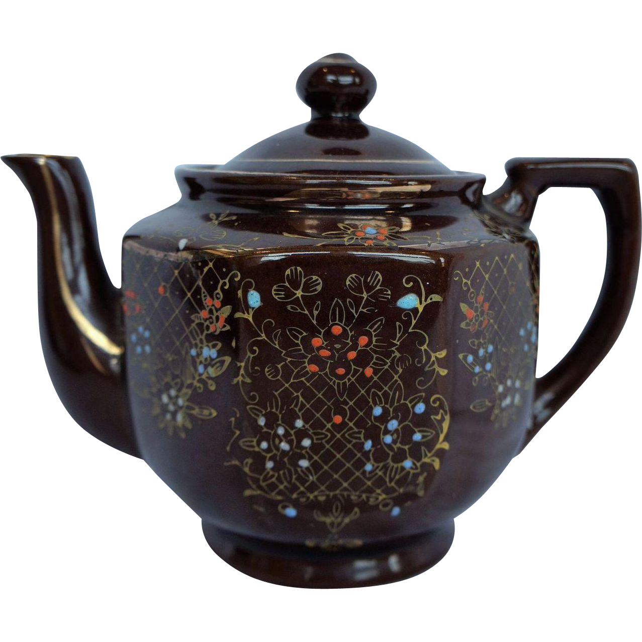 Moriage Hand Painted Redware Brown Glazed Teapot Made in Japan 1940s