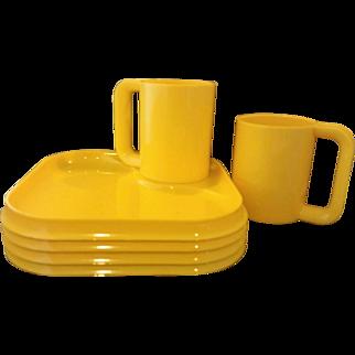 Yellow Melmac 4 Square Plates 2 Mugs Set
