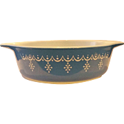Pyrex Snowflake Blue Garland 1 PT Tab Handle Casserole No Lid