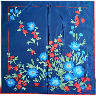 Vera Navy Blue Red Floral Scarf