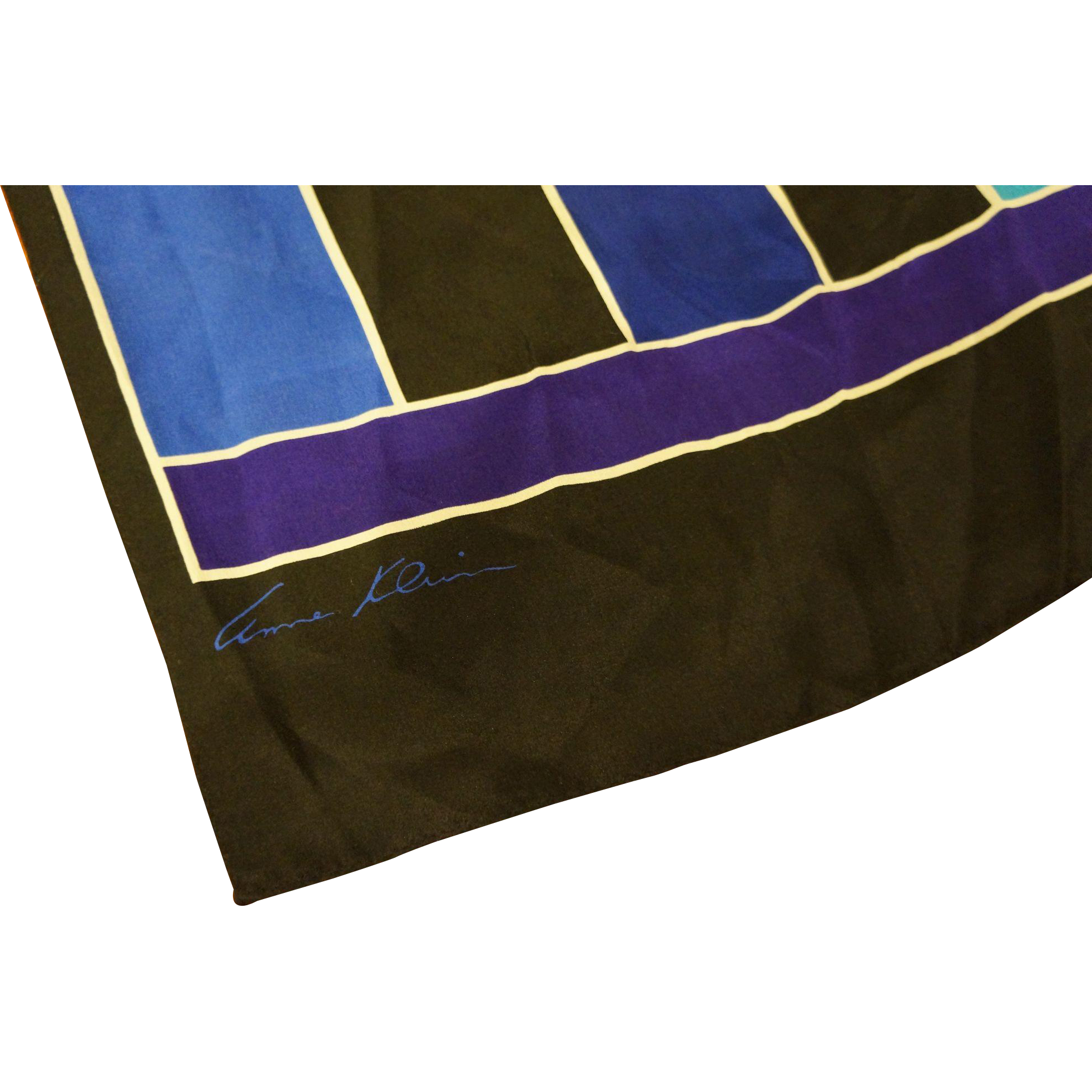 Anne Klein Blue Black Stripe Silk Scarf Oblong 56 IN