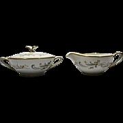 Noritake Claridge Creamer Sugar Bowl Lid Porcelain Pink Gold Flowers