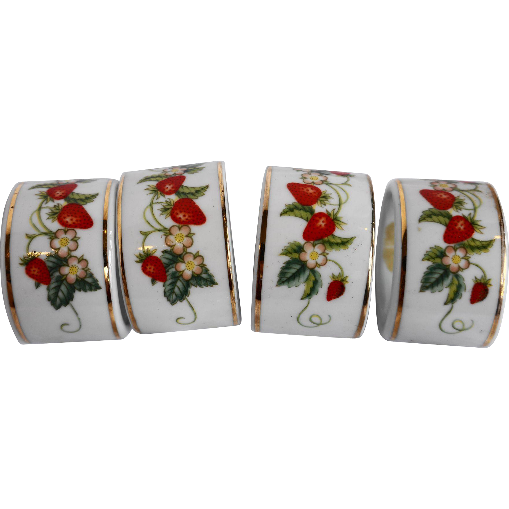 Avon Strawberry Napkin Rings Set of 4 Porcelain
