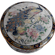 Peacock Porcelain Round Trinket Box Japan Blue Gold