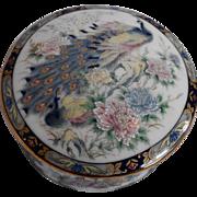 Peacock Porcelain Round Trinket Box Japan Blue Gold