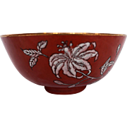 Coral Orchid Chinese Porcelain Flow Enamel Rice Bowl Hong Kong 3943 6 IN