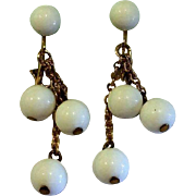 White Plastic Ball Dangle Clip Earrings