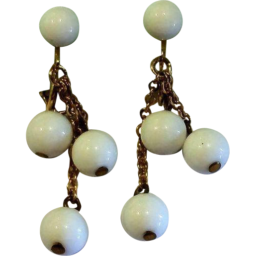 White Plastic Ball Dangle Clip Earrings from ...