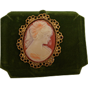 Lady Cameo Orange Cream Molded Resin Plastic Gold Tone Filigree Oval Frame