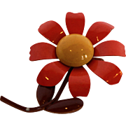 Lisner Flower Power Enamel Fall Colors Pin Orange Yellow Brown