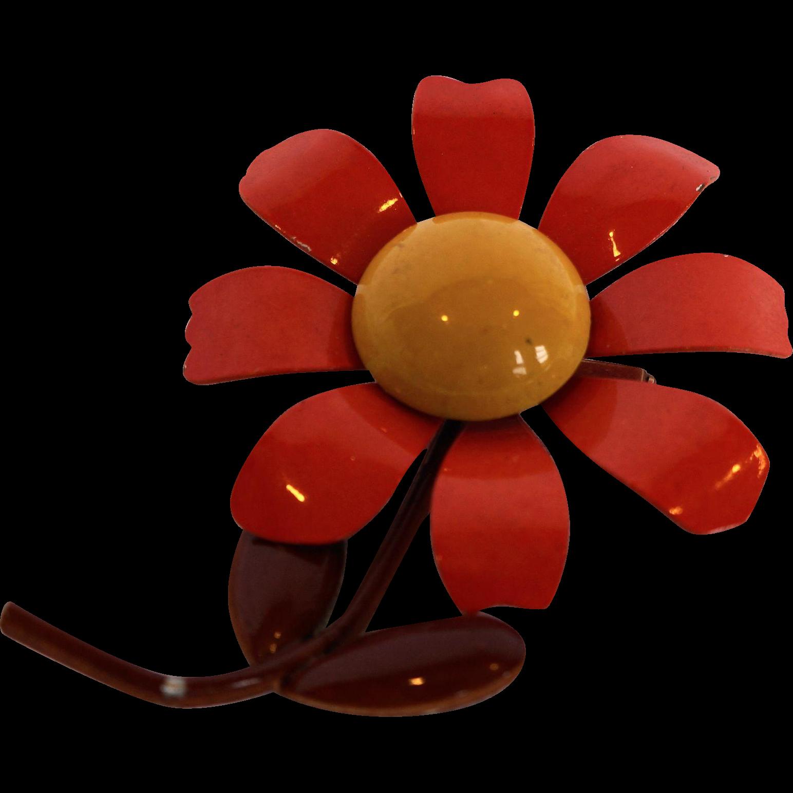 Lisner Flower Power Enamel Fall Colors Pin Orange Yellow Brown