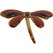 Dragonfly Enamel Pin Peach Pink Purple Gold Tone