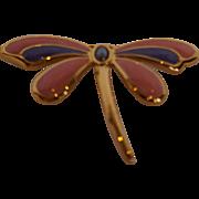 Dragonfly Enamel Pin Peach Pink Purple Gold Tone