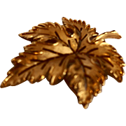 Crown Trifari Brushed Gold Tone Maple Leaf Pin Brooch