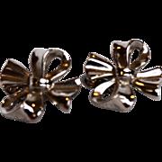 Crown Trifari Silver Tone Bow Earrings Clips