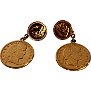 Gold Tone Liberty Dollar Coin Dangle Clip Earrings