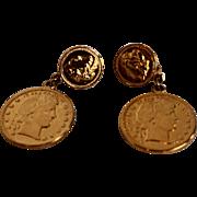 Gold Tone Liberty Dollar Coin Dangle Clip Earrings