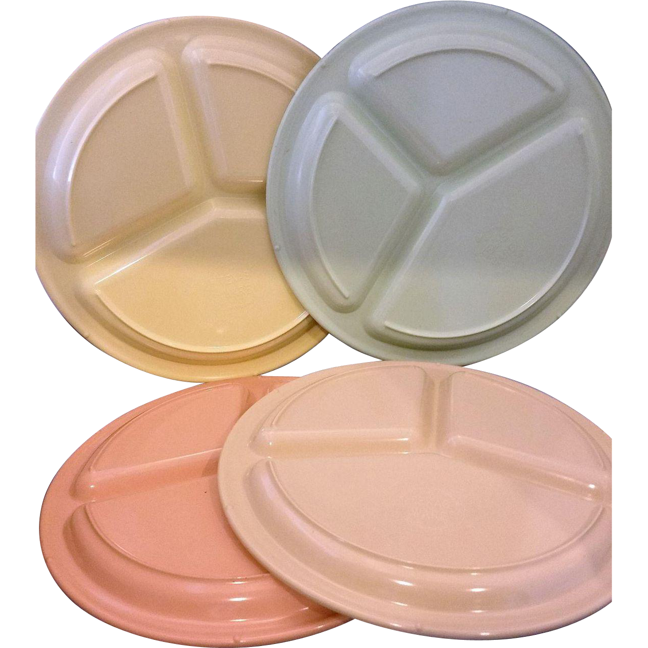 Texas Ware Divided Grill Cafeteria Plates Set of 4 Vintage Melmac 10 IN 4 Colors