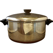 Vintage Revere Ware 4-1/2 Qt. Dutch Oven 1801 Cookware Copper Clad Stainless